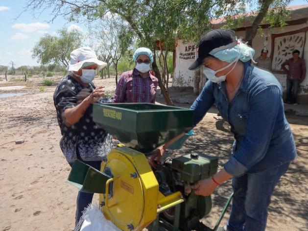 Pequenas produtoras rurais elaboram farinha de algarroba, graças ao apoio de um projeto do governo da Argentina para incentivar a agricultura familiar, na localidade de Guanaco Sombriana, na província de Santiago del Estero, ao norte. Foto: Fabiana Frayssinet/IPS