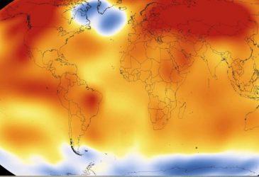 Medidas mais drásticas para reduzir a emissão de gases-estufa serão necessárias para evitar que o planeta esquente mais de dois graus Celsius até o fim do século, aponta IPCC – Mapa: Nasa/NOAA